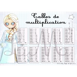 Tables de multiplication reine des neiges lilly muffin - Tableau table de multiplication a imprimer ...
