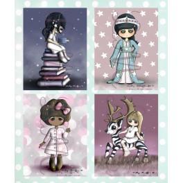 Lot de cartes Lisa, charlie, Sophie et Salma