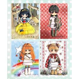Lot de cartes Louise, Fanette, Blanche-Neige et Suzie