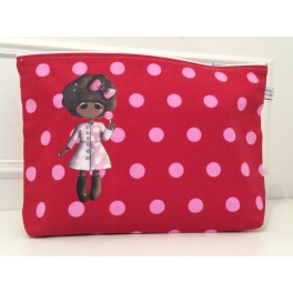 Trousse de toilette LISA grenat pois rose