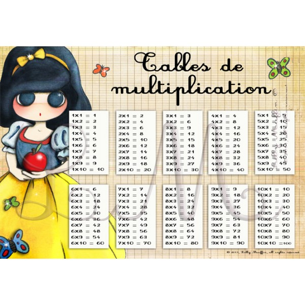 Tables de multiplication blanche neige lilly muffin - Table de multiplication cm a imprimer ...