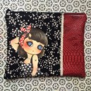 Pochette en simili cuir dragon rouge ROCK MY ROSE