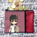 Porte monnaie ROSE coton enduit noir