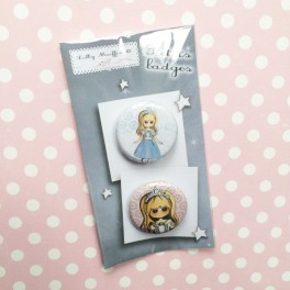 "Badges ""Marie"" (Rose et bleue)"