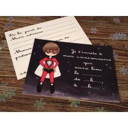 """Cartes invitations """"Super Héros"""""""